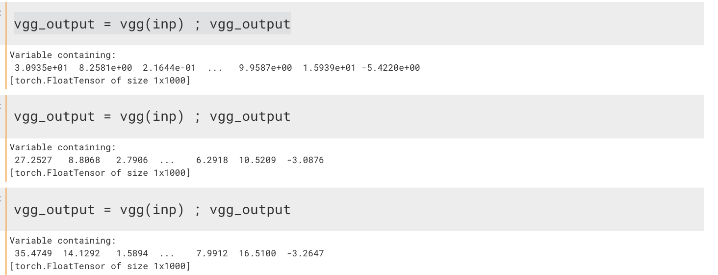 Output of pretrained VGG19 net is giving me a different value each