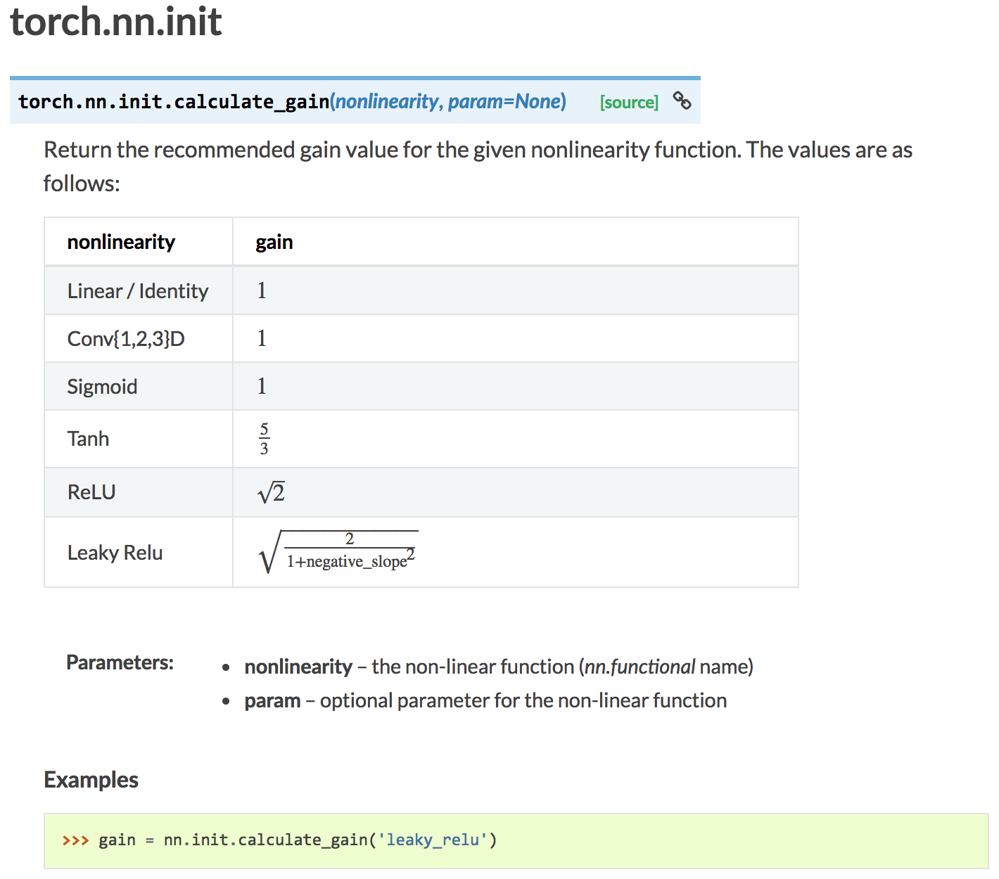 How to use torch nn init calculate_gain? - PyTorch Forums