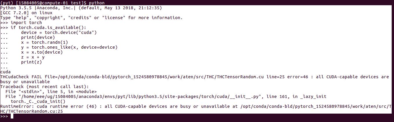 RuntimeError: cuda runtime error (46) : all CUDA-capable