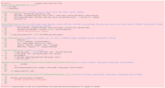 """error: """"expected HalfTensor, recieved FloatTensor"""""""