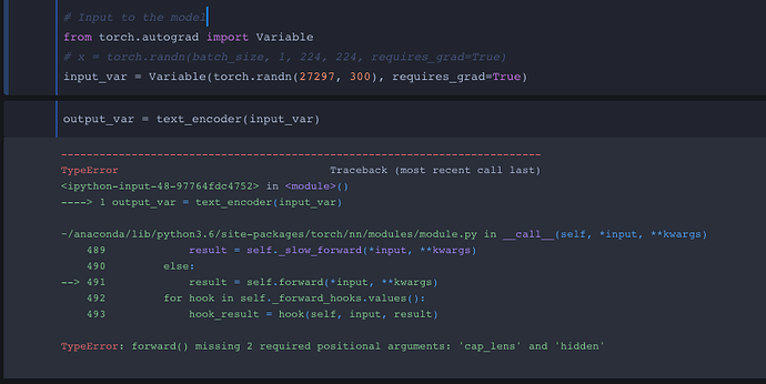 TypeError: forward() missing 2 required positional arguments