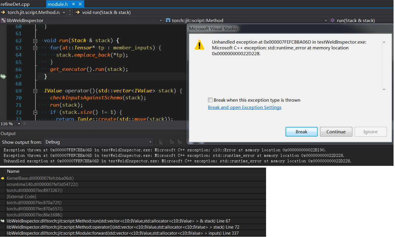 Error when forward() on windows with c++ and libtorch - C++