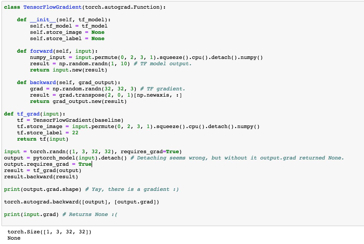Using TensorFlow gradient - autograd - PyTorch Forums